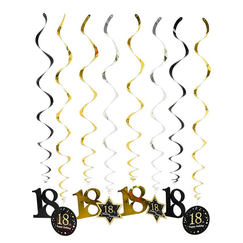 8 шт./компл. висит завитки Декор на потолок с днем рождения вихревой баннеры для 18 21 30 40 50 60 день рождения юбилейные праздничные украшения