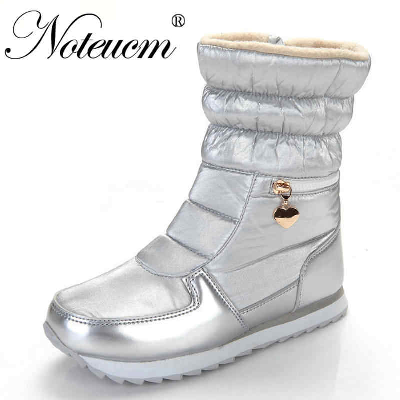 Vrouwelijke winter warm Zilver wit dames platte korte casual Enkel sneeuw boot met Nep bont vrouwen waterdichte gewatteerde schoen voor vrouwen