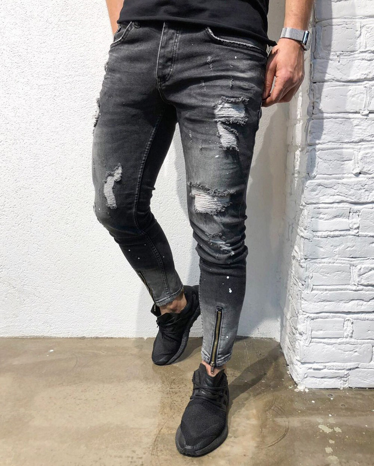 Europe And America New Style Men Fashion With Holes Young MAN'S Jacket Foot Mouth Zipper Elasticity Skinny MEN'S Jeans Nk52