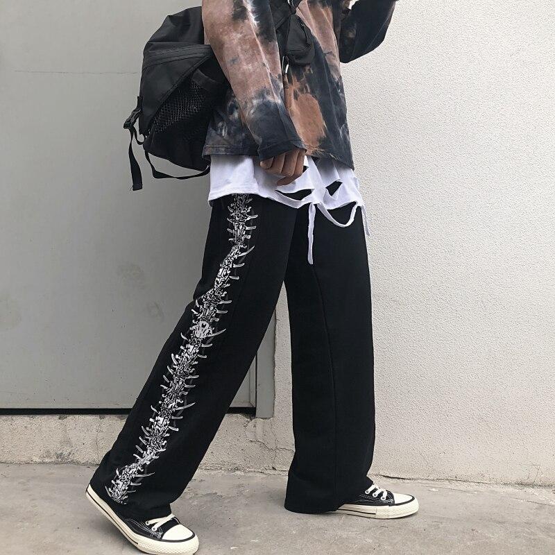 Streetwear Pant Women Men Skull Print Elastic Waist Harajuku Pants Casual Loose Straight Trousers Unisex 2019 Autumn Outwear
