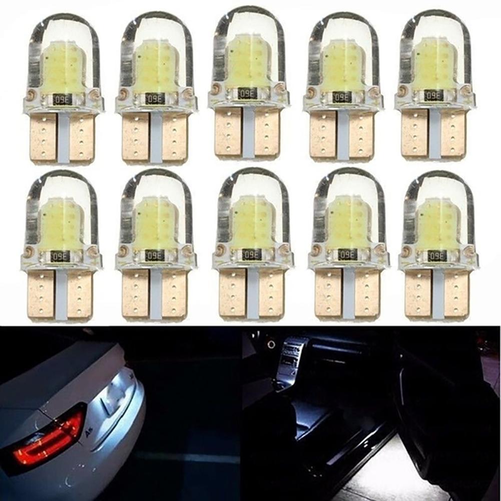 10Pcs Car Headlight Bulbs White LED W5W COB Canbus Silicone Car License Plate Light Lamp Bulbs Auto Reverse Signal