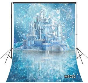 Winter Snow Scene Frozen Ice Fairytale Castle Photography Backdrops Children kids Baby Portrait Photo Background Studio Props