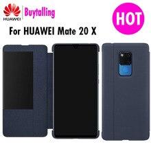 מקורי Huawei mate 20 X מקרה Ultra Slim עור מפוצל מקרה למקרה 20 x חלון שינה השכמה flip כיסוי mate 20X מקרי טלפון