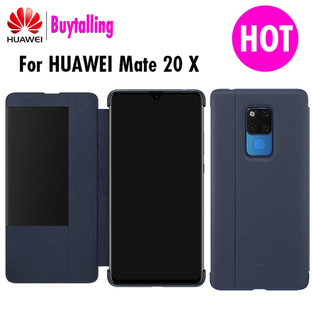 Original Huawei mate 20 X case Ultra Slim PU Leather Case For Mate 20 X  Window Sleep Wake up Flip Cover Mate 20X phone Cases