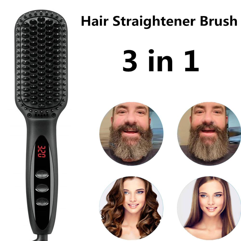 Hair Straightener Hot Comb Pro LCD Heating Electric Ionic Straighten Hair Styles Anti Static Ceramic Straightening Beard Comb