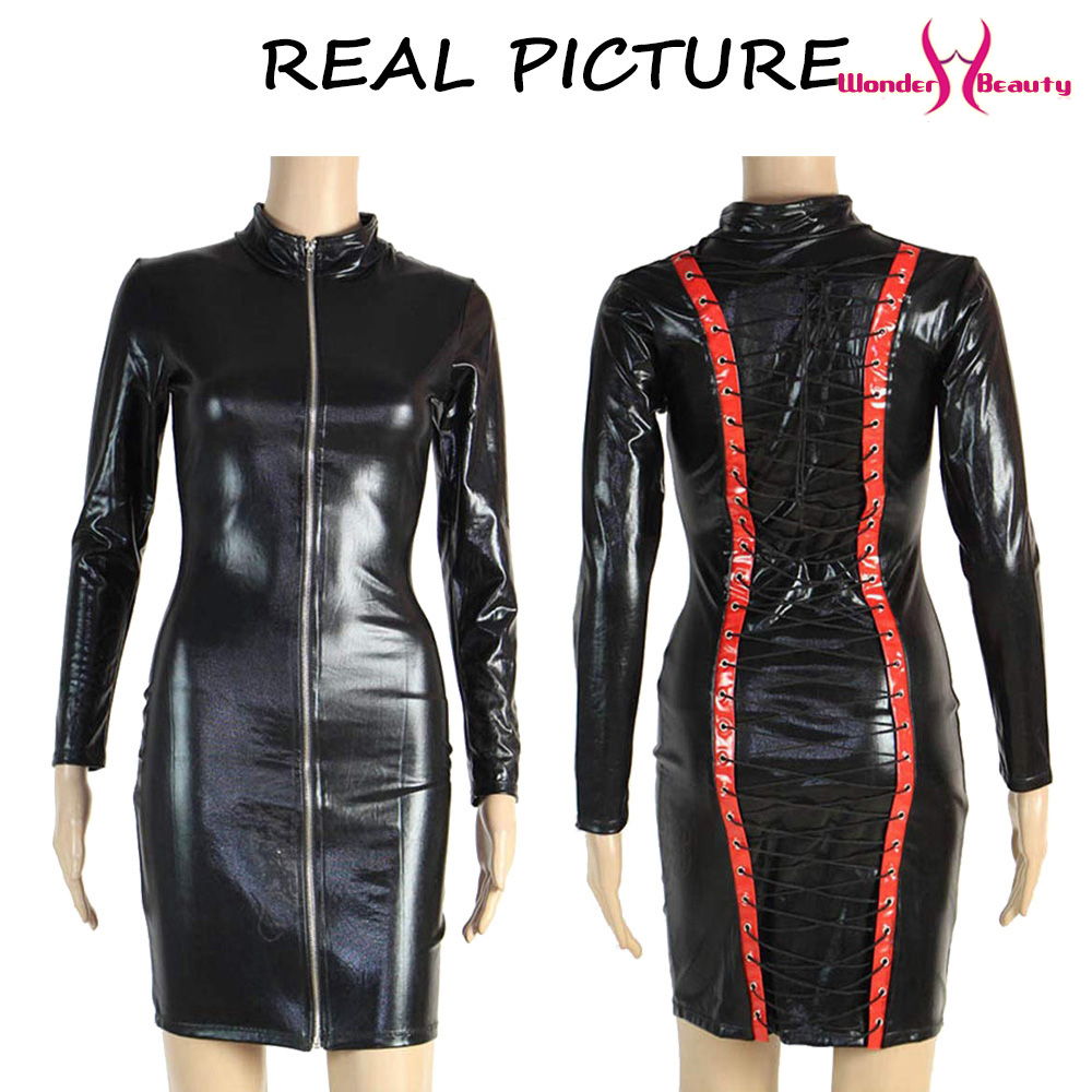 leather pencil dress sexy black pvc leather gothic midi dress lace up bondage latex clubwear long zipper wetlook vinyl dresses (4)
