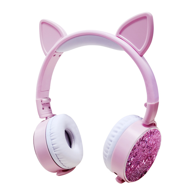 New Cat Ear Wired Headphones Hourglass Glitter Style Women Girl Music Gaming Headset For Mobile Phone Computer PC 3.5mm Jack
