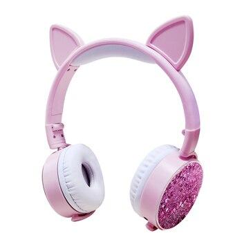 Nuevos auriculares Oreja de Gato con cable estilo brillante reloj de arena para mujer niña auriculares para juegos de música para teléfono móvil PC Jack de 3,5mm