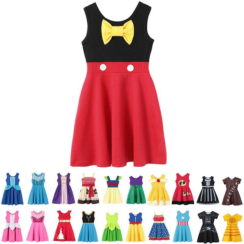 Baby Mädchen Casual Kleidung Phantasie Minnie Ariel Elsa Anna Schnee Weiß Kapitän Amerika Rapunzel Buzz Jessie Kid Prinzessin Party Kleid