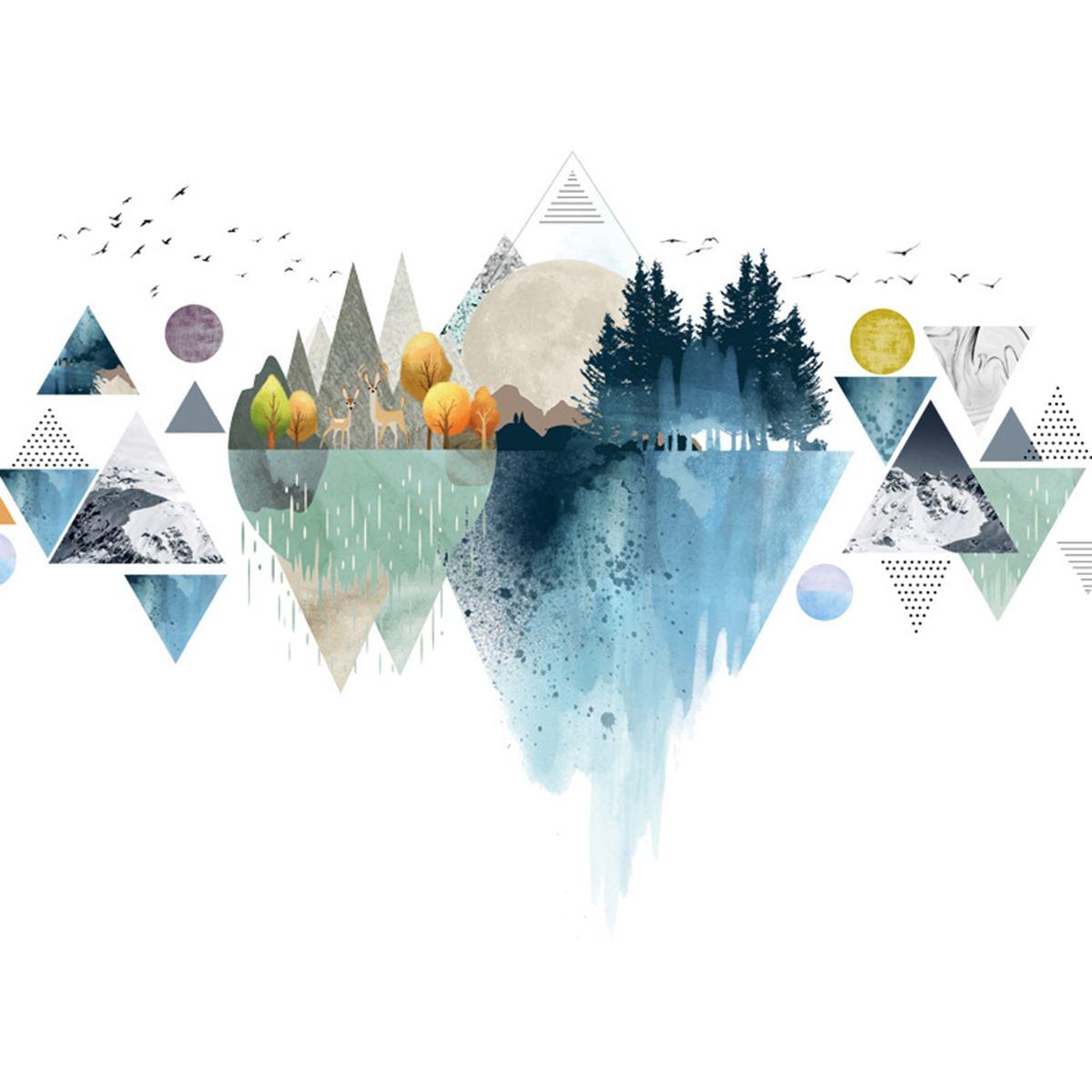 DIY triángulo nórdico montaña pegatinas de pared casa decoración salón Decoración habitación mural arte etiqueta de la pared-pósteres adhesivos Iluminación LED de araña moderna, accesorios de hierro negro 4 6 8, lámpara de techo de Rama, lámpara Industrial Vintage para sala de estar y dormitorio