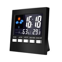Indoor Thermometer Humidity Monitor LCD Screen Electronic Digital Display Alarm Clock Calendar Voice Control Backlight Sveglia стоимость