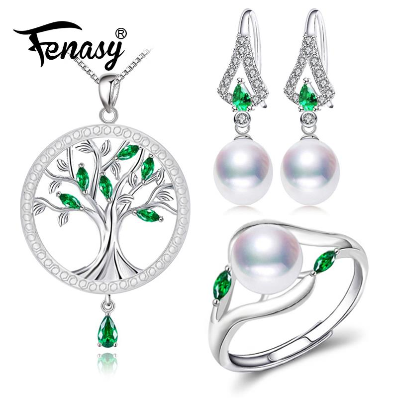 FENASY Jewelry-Sets Drop-Earrings Emerald Pearl Engagement-Ring-Set Round-Pendant 925-Sterling-Silver