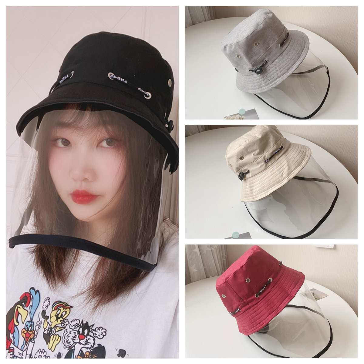 Transparent Anti Virus Protective Mask Anti-spitting Anti-droplet Splash-Proof Hat Fisherman Cap