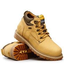 Мужские кожаные ботильоны с рисунком кошки, желтые повседневные ботинки для древесины, водонепроницаемые рабочие ботинки, обувь большого р...
