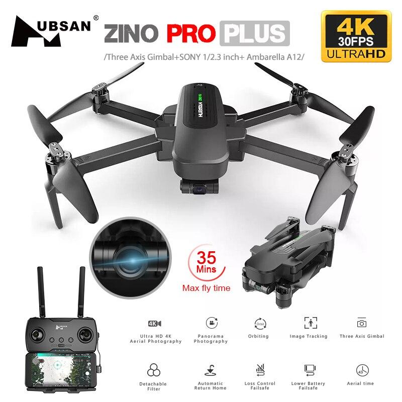 Hubsan zino pro plus zino 2 + zangão gps com 4k 30fps/60fps uhd wifi fpv câmera quadcopter 3 eixos cardan 8km dron vs sg906 max