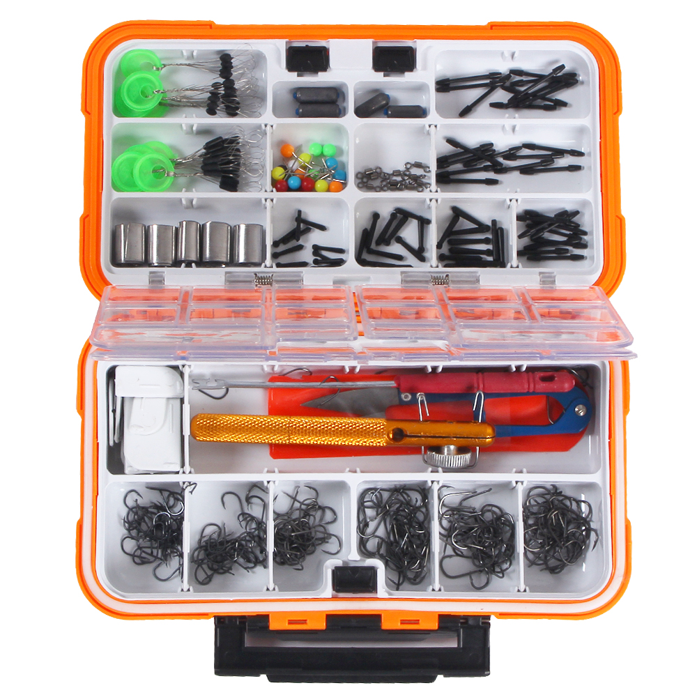 160/320/350 PCS Fishing Tackle Set Assorted Fishing Hooks Swivels Space Beans Carp Fishing Accessories with Tackle Box