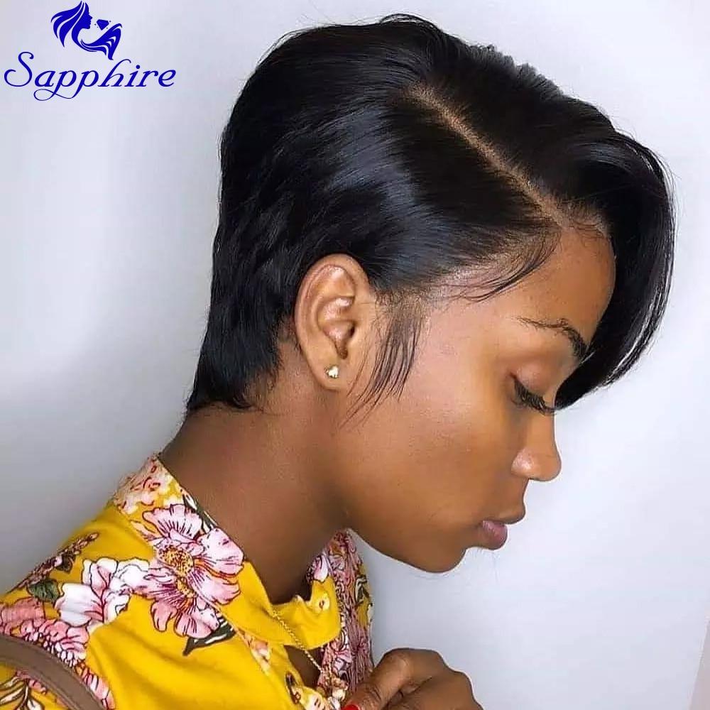 Safira pixie curto laço perucas pixie corte peruca reta brasileira remy cabelo 150% densidade máquina feita perucas de cabelo humano para mulher