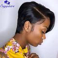 Sapphire короткие кружевные парики Pixie Cut парик прямые бразильские волосы Remy 150% плотность машины человеческих волос парики для женщин