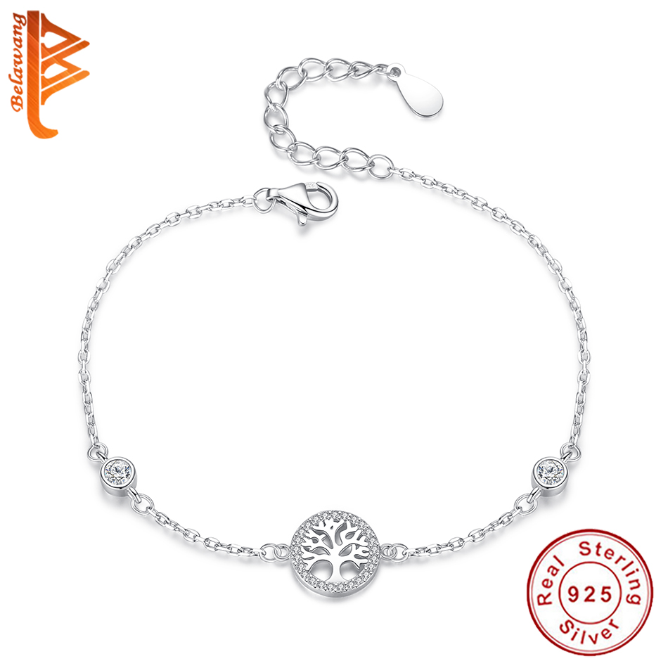 BELAWANG Wholesale Hot Sale 100% 925 Sterling Silver Tree Of Life Bracelet Women Adjustable Link Chain Bracelet Silver Jewelry