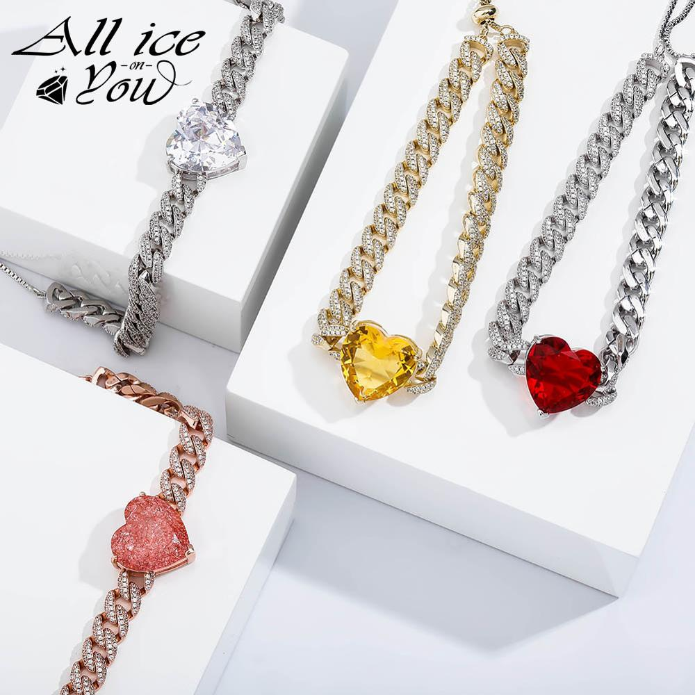 ALLICEONYOU New High Quality Iced Out Cubic Zirconia Love Heart Pendant&Necklace Hip Hop Fashion Jewelry For Women Gift(China)