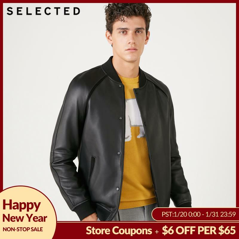 SELECTED Men's Genuine Leather Jacket Sheepskin Baseball Collar Clothes Long-sleeved Coat S | 418410508