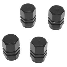 Set of 4 Alu valve caps for tires bicycle, motorcycle, car - Black