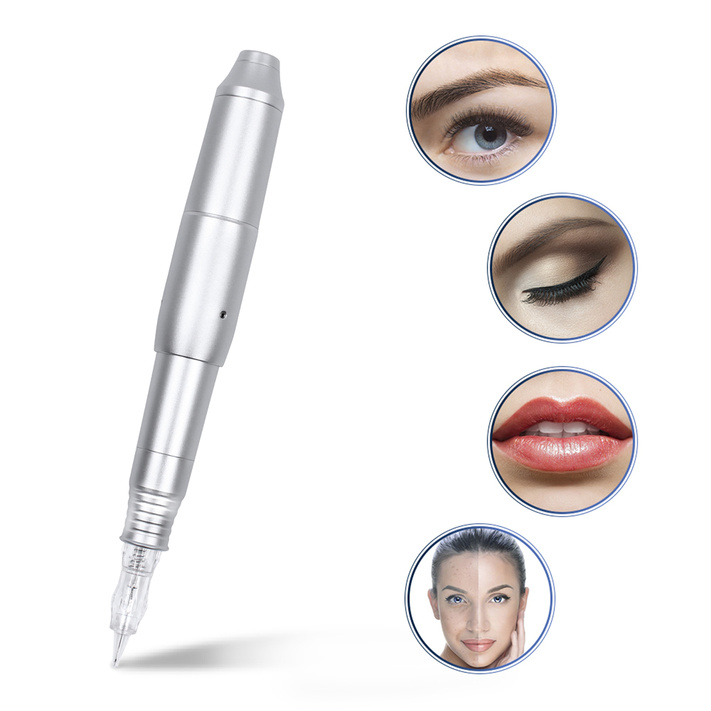 LW002 Tattoo Permanent Makeup Machine Pen Eyebrow Carving Rotary Tattoo Pen Kit With 1rl Cartridges Needles 12V Strong Power
