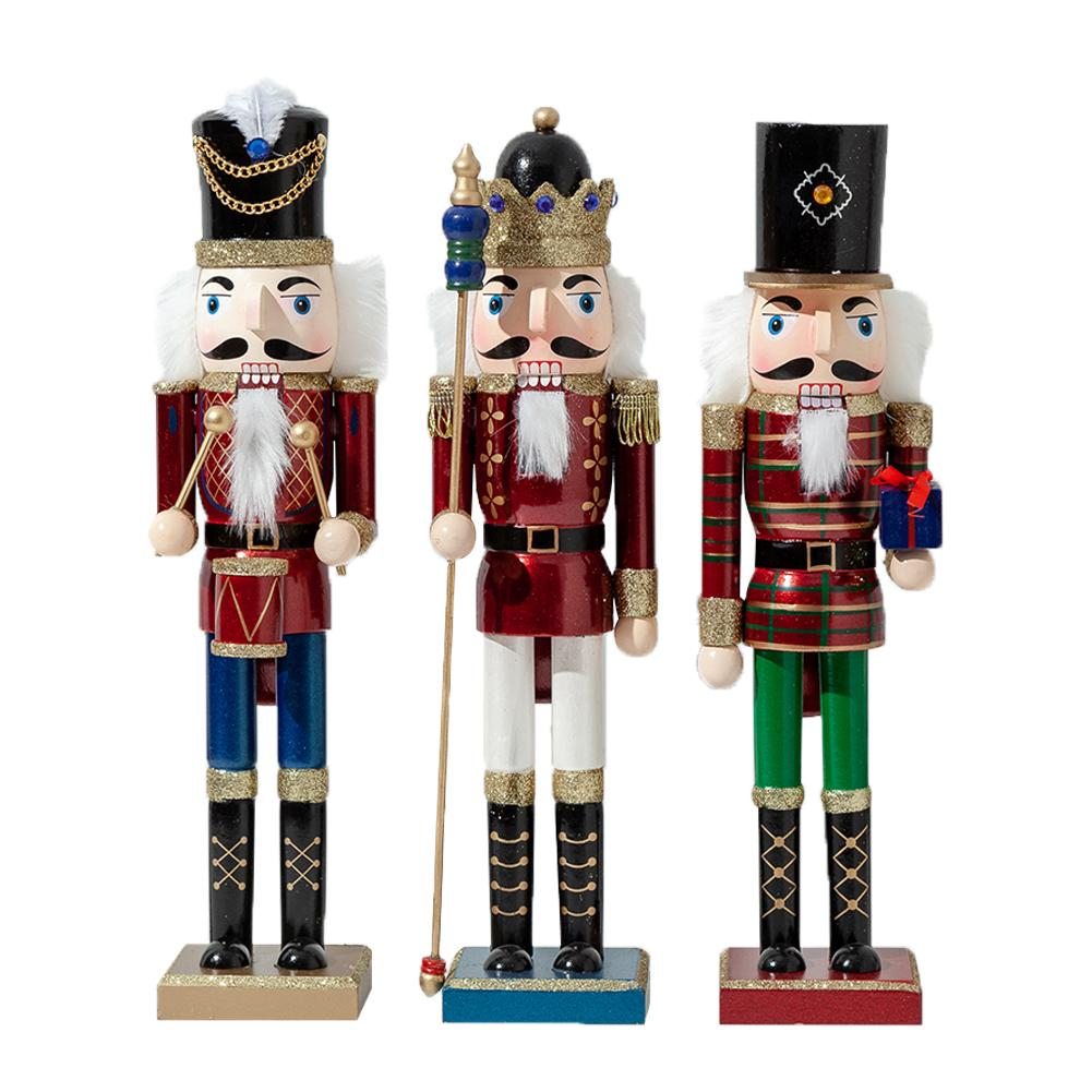 1 3pcs 38cm 50cm Wooden Nutcracker Soldier Glitter Powder Shimmer Bright Puppet Christmas Decorations For Home Kids Xmas Gift Figurines Miniatures Aliexpress