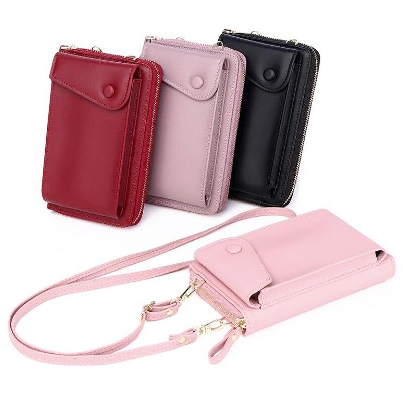 Women Fashion Shoulder Bag Lady Long Cellphone Bag Wallet Zipper Coin Purse ID Cards Holder Clutch Double Layer Messenger Bag