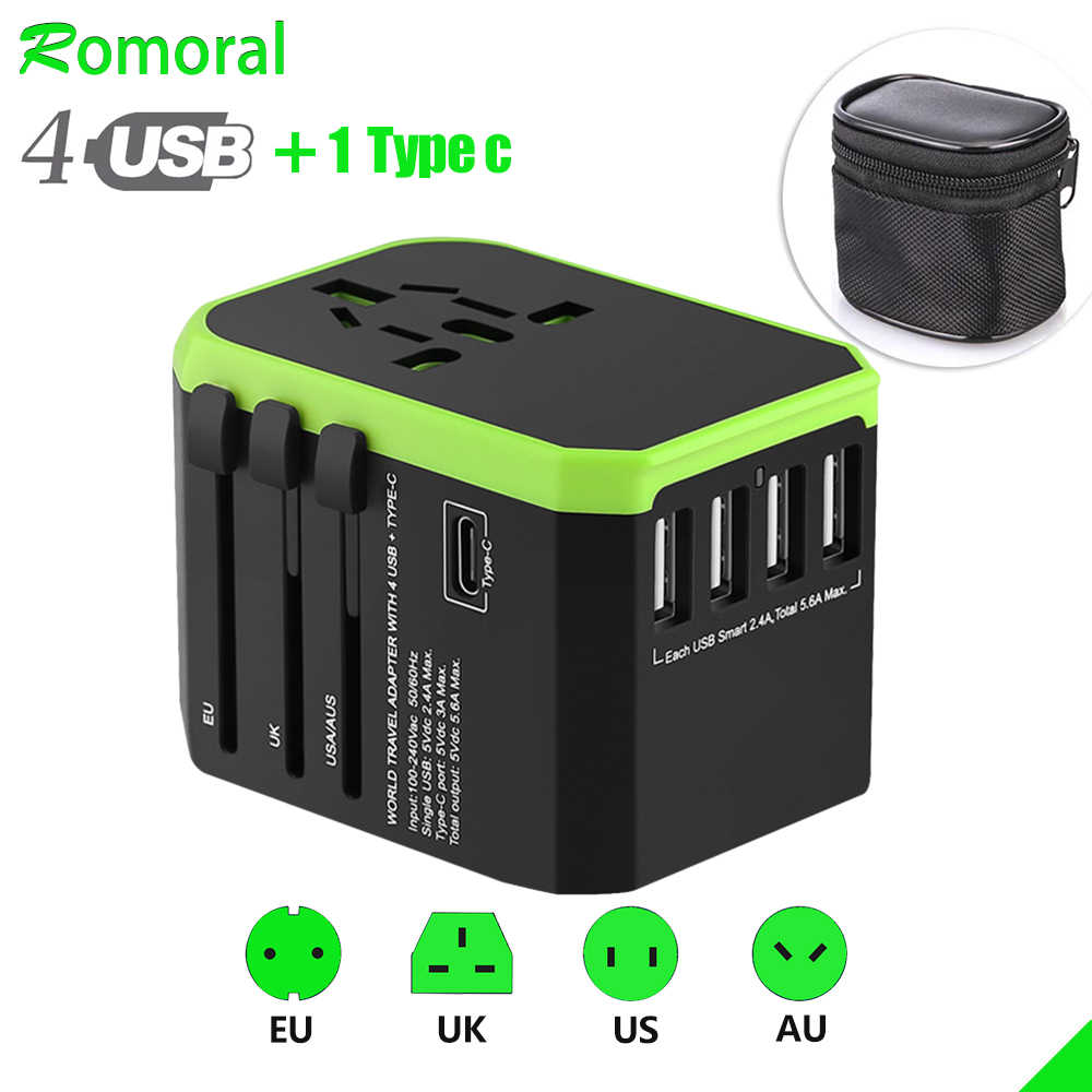 Universal Travel Adaptor International Wall Charger AC Plug Adaptor dengan 5.6A Smart Power dan 3.0A USB Tipe-C untuk US EU UK AU
