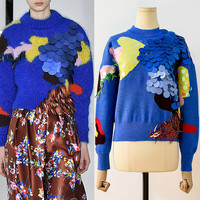 2019 Autumn Winter Women Blue Sweaters Pullovers Runway Designer Luxury Sequined Female Korean Pull Knitted Jumper Clothes X324
