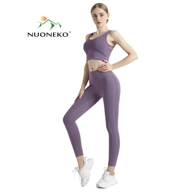 NUONEKO Summer Women Yoga Set Two Piece Suit Gym Clothes Sports Bra Seamless Leggings Running Fitness Woman Tracksuits NT028