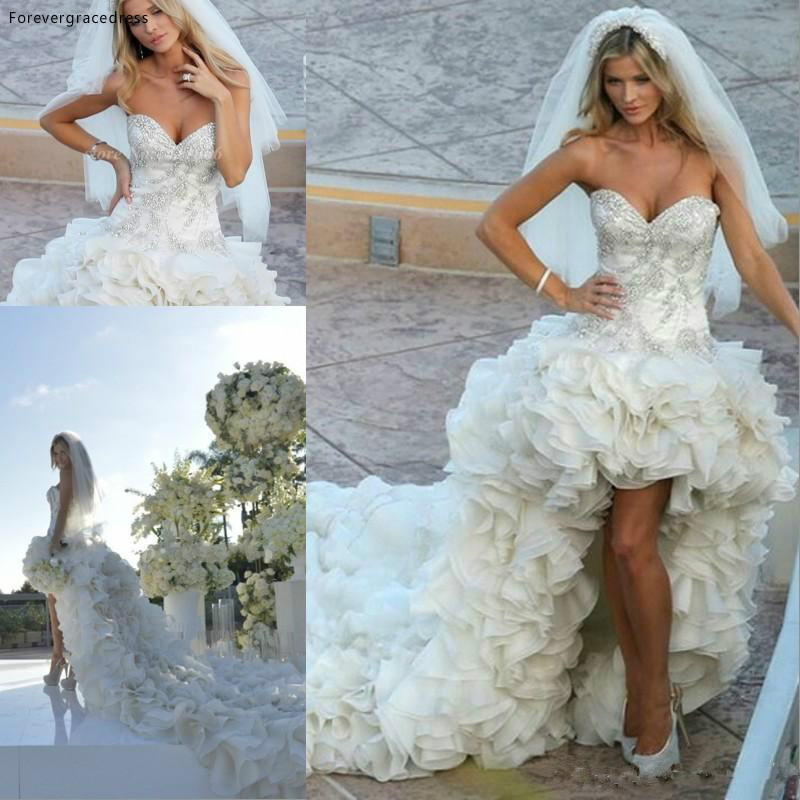 Luxury High Low Wedding Dress Sweetheart Tiers Ruffles Long Bridal Gown Custom Made Plus Size