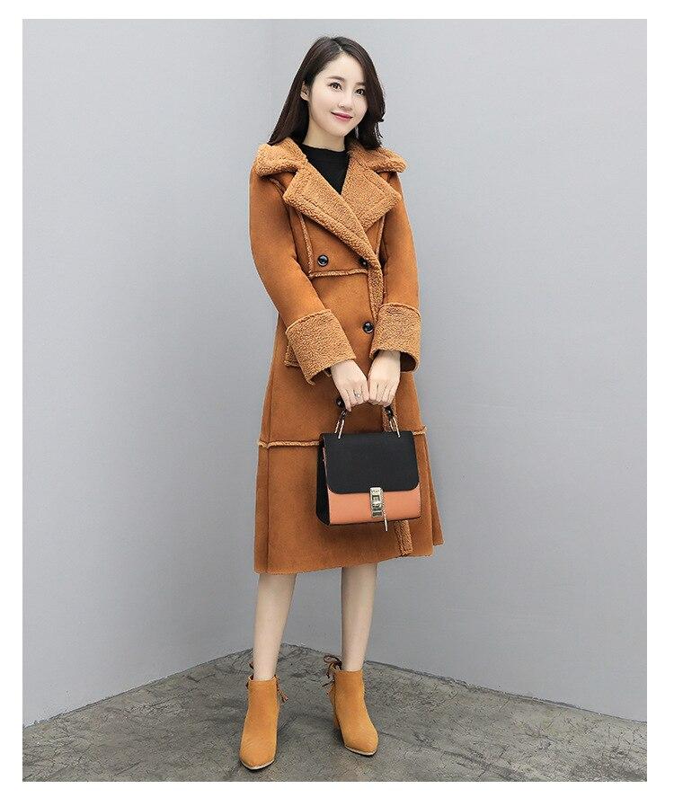 falso camurça casaco longo feminino senhoras escritório