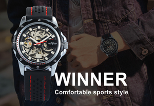 Image 3 - 勝者公式自動機械式時計男性スポーツスケルトンシルバー黒発光ゴムバンドの少年ギフトすべて一致ビッグケース