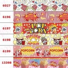 16 мм-75 мм с принтом «Любовь попкорн», Корсажная/эластичная лента, мультяшный пончик, Геометрические полосы, точки, сделай сам, бант для волос, 50 ярдов/рулон