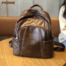 PNDME vintage simple genuine leather ladies small backpack casual waterproof soft cowhide travel cute female bagpack for women