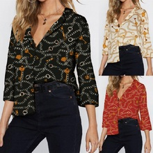 Autumn Chiffon Blouse Women Three Quarter Retro Print Ladies Blouses and Tops