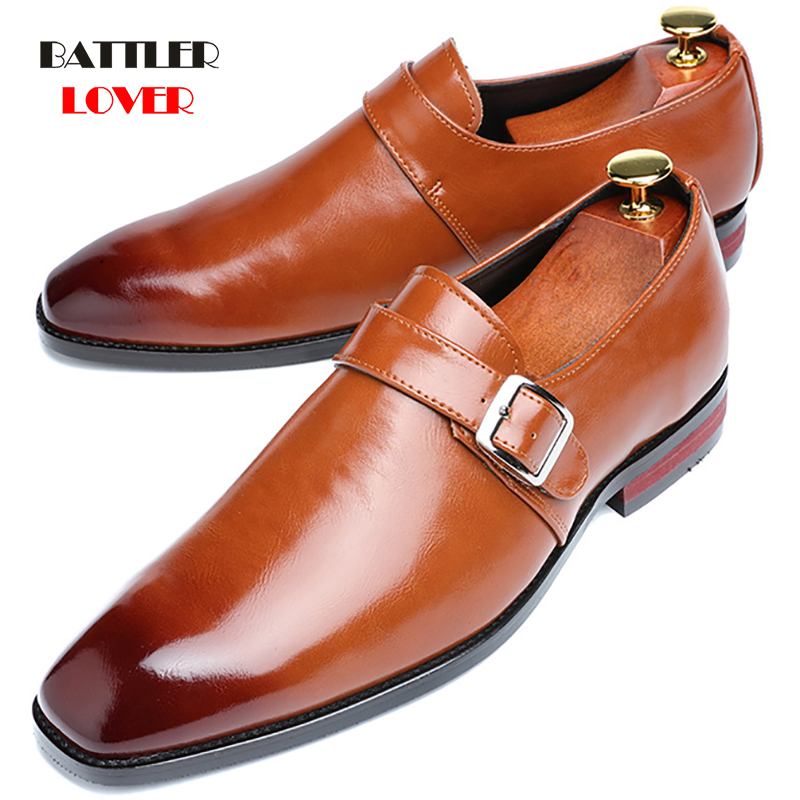 Handmade Men Genuine Leather Dress Shoes High Quality Italian Design Brown Red Color Mens Hand-polished Square Toe Wedding Shoes