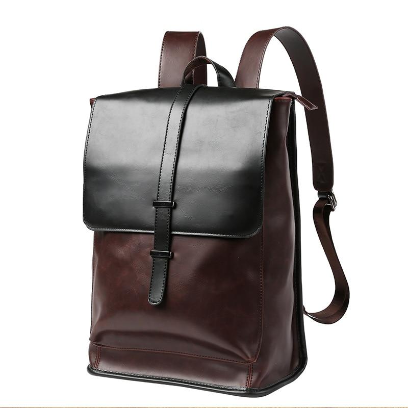 Men Backpack Leather School Backpack Bag laptop backpack business bags Waterproof Travel Bag Casual Leather Book bag Male