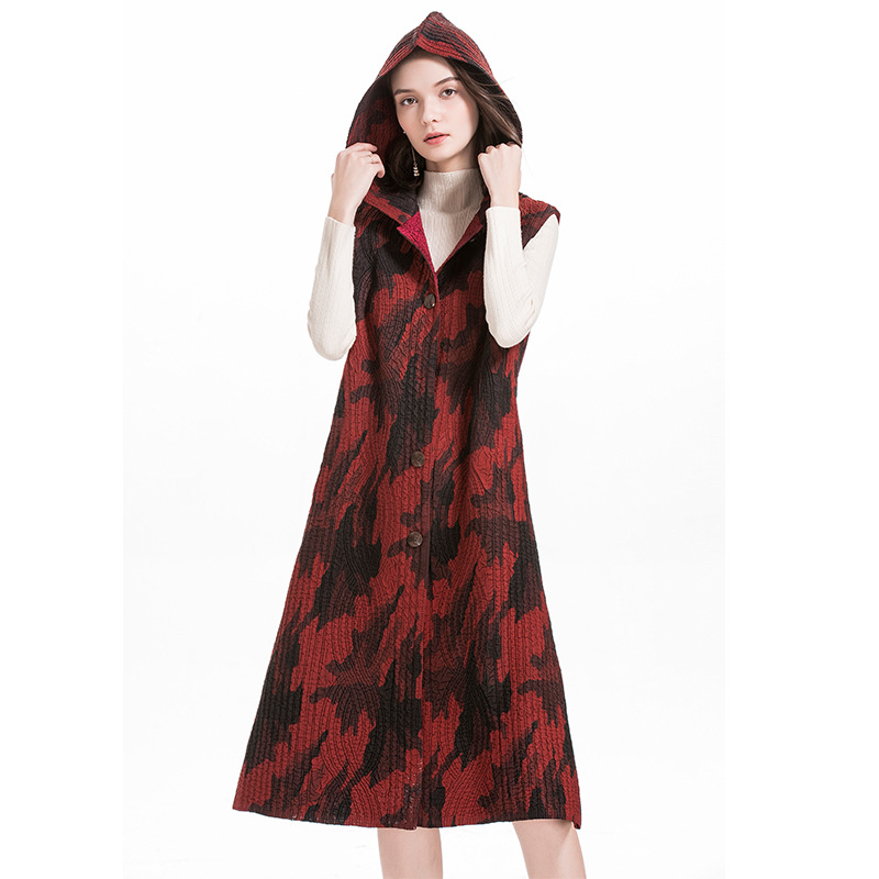 Chaleco con capucha algodón MIYAKE pliegue invierno largo fino algodón abrigo moda popular chaleco envío gratis