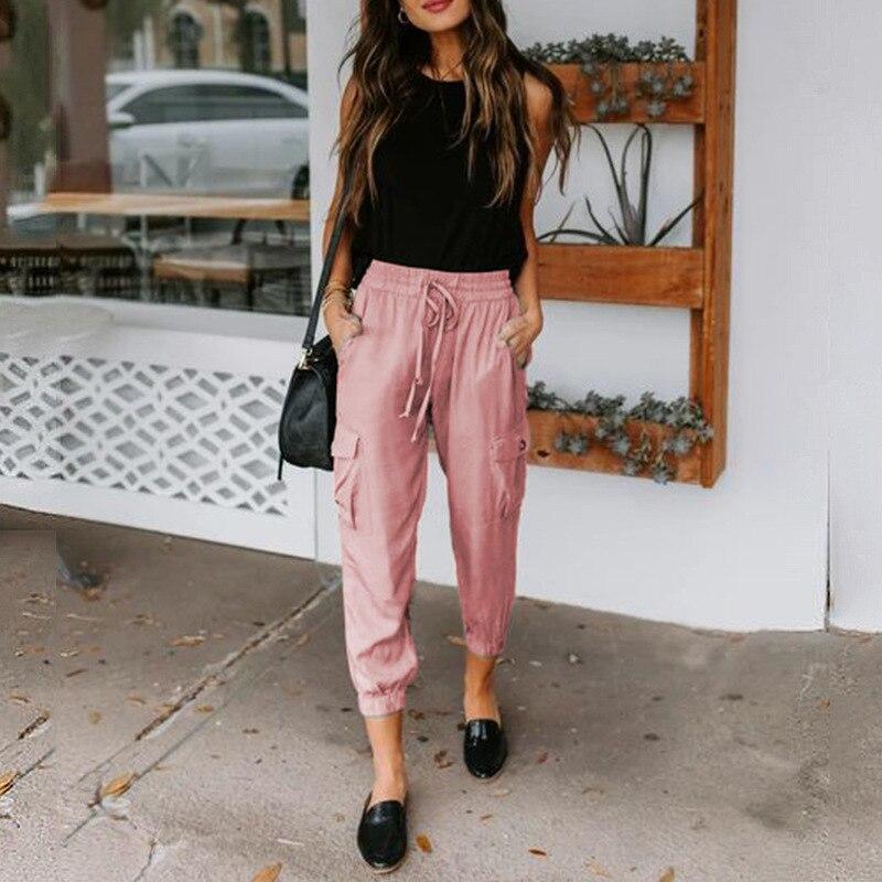 Prettyshe новые летние женские брюки однотонные Цвет Свободные повседневные штаны с карманами, на завязках, спортивные штаны размера плюс модны...