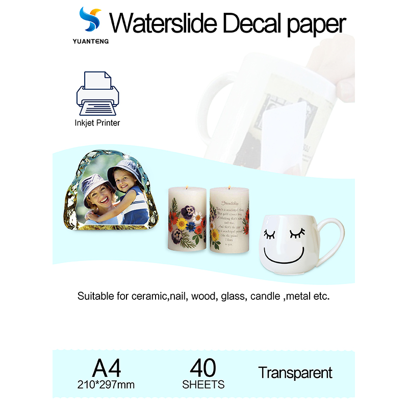 (40pieces/lot) Inkjet Water Slide Decal Paper A4 Size Transparent Transfer Paper Clear Color Waterslide Decal Paper For Mug Nail