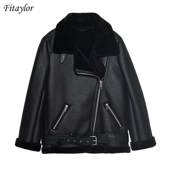 Fleece Leather Biker Jacket 1