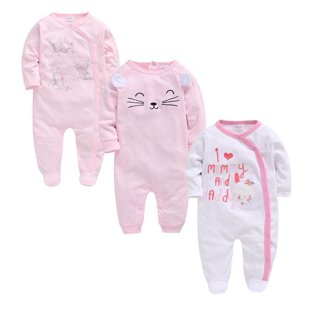 Kavkas 3 Pcs/lot Baby Girls Boys Clothes Autumn Summer Cotton Jumpsuit Newborn Babies Rompers 0-3 M Long Sleeve Roupa De Bebe