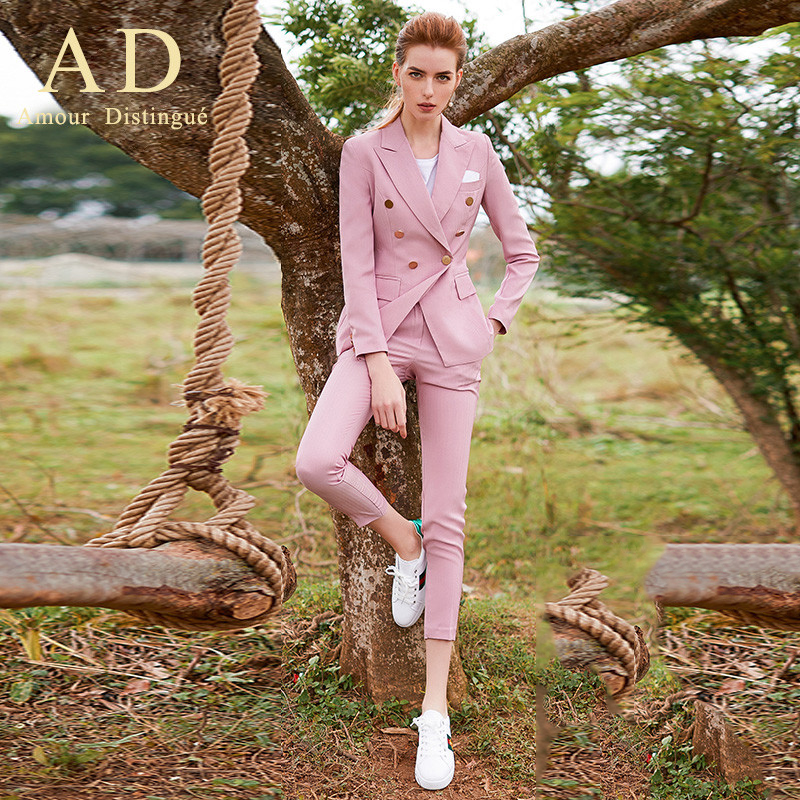 Women S Office Suits Set Professional Female Business Lady Suit Plus Size Pink Blazer Pant  Designer Tailor Made 2019 Free Ship