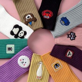 2020 New Female Ins Fashion Korean Cartoon Wild Cute Socks Japanese Embroidery Middle Long  Women