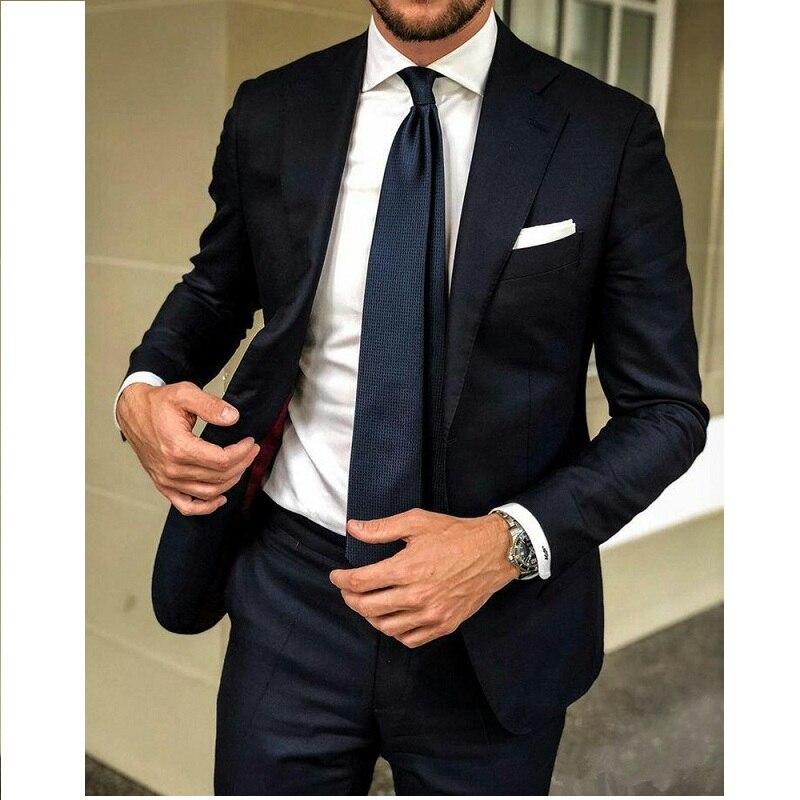 Dark Blue Men Suits Groom Wedding