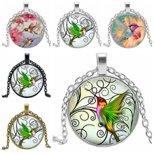 2019 Hot Creative Green Wings Humming Bird Time Crystal Glass Convex Round Pendant Necklace Clothing Sweater Chain Jewelry