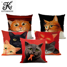 Animal cushion with dog and cat pattern sofa decorative pillow, high quality 45 cm x hemp square pillow